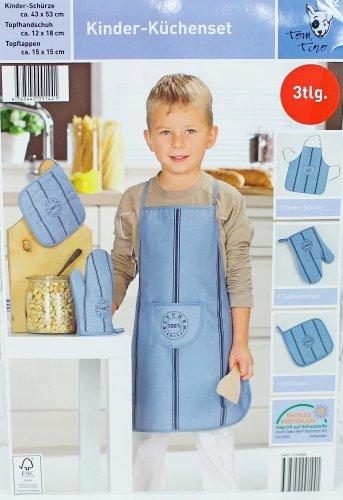 Kinder Küchenset - 3tlg - Kochschürze, Topfhandschuh, Topflappen - für Jungen & Mädchen - Tom Tino