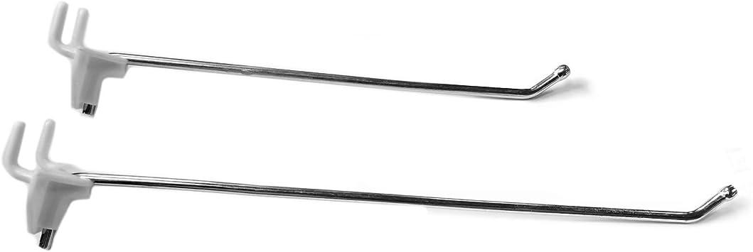 6 Deep Pegboard /& Slatwall 2 Part Hooks Adjustable Hooks w//Separate Plastic Backing 100 Pack