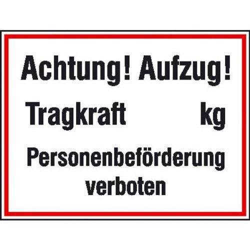 Cartel de advertencia! Ascensor! Capacidad de carga.. kg de ...