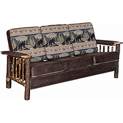 Amazon.com: Rustic Hickory Log Sofa with Faux Leather and ...