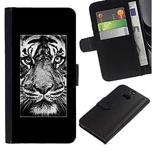 KingStore / Leather Etui en cuir / HTC One M8 / Affiche Afrique Majestic animaux