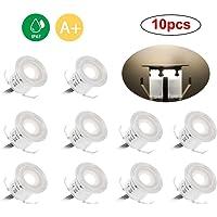 Docooler Lámparas Encastrables de Exterior LED, Impermeables IP67, para Jardín, Patio o Escaleras, Conector EU 10 piezas Blanco