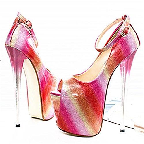 Banquetwedding Peep Toe Rojo niña Bombas Personalidad Nuevas de Plataforma Regalo Zapatos Sandalias HETAO Tacón Mujeres de fiesta Alto Modelo qFRvxt