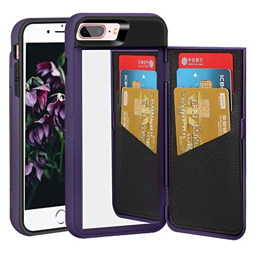 r Apple iPhone 8 Plus, Wallet Style Case Design with Card Holder Hidden Back Mirror Kicstand Feature Flip Back Cover Protective Case for iPhone 8 Plus/7 Plus(Purple) ()