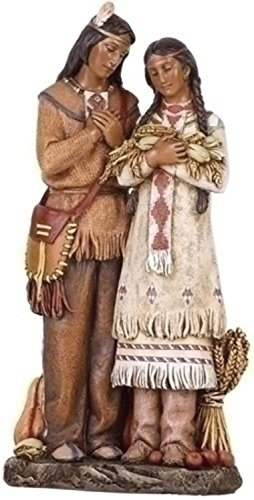 "9.75"" Joseph's Studio Harvest Autumn Fall Thanksgiving Indian Couple Figure"