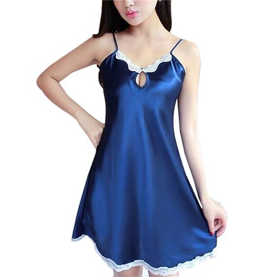 Internet_Mujer Sexy Encaje Color sólido arnés camisón,tentación Seda Vestido de Encaje Ropa de Dormir