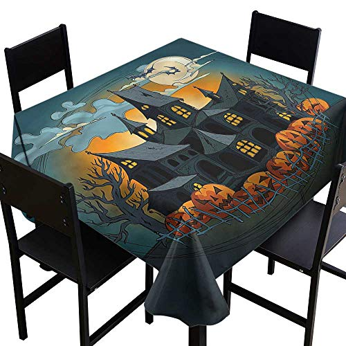 home1love Halloween Fashions Table Cloth Medieval Haunted Castle for Banquet Decoration Dining Table Cover 54 x 54 Inch -