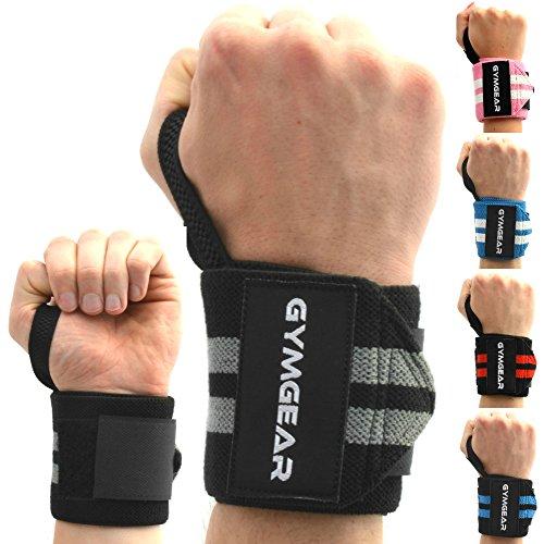 Handgelenkbandage [2er Set] Wrist Wraps 45 cm - Profi Bandagen für Kraftsport, Bodybuilding, Powerlifting, CrossFit & Fitness - Schwarz / Grau