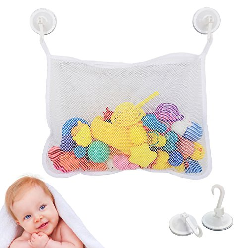 HiFans Baby Bath Toys Organizer with 2 Strong Hooked Suction Cups - Baby Bath Storage Mesh Caddy Bag for Kids from HiFans