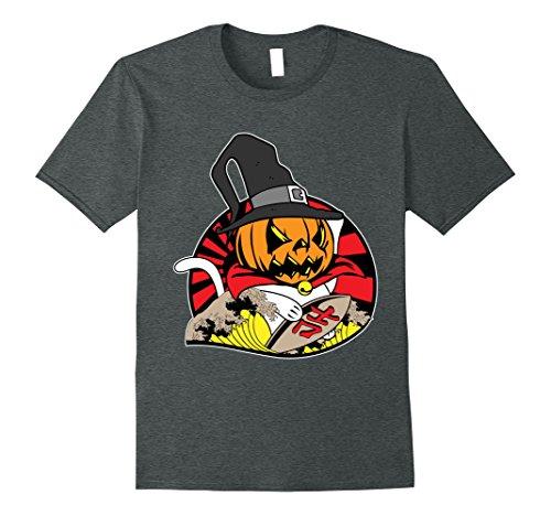 Mens Funny Cute Japanese Pumpkin Beckoning Cat Maneki-neko Shirt 2XL Dark (Maneki Neko Halloween Costume)