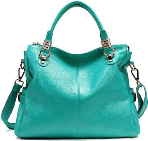 JiYe Womens 2P0951 1st Genuine Leather Leisure Shoulder Bag Water Blue, Bags Central