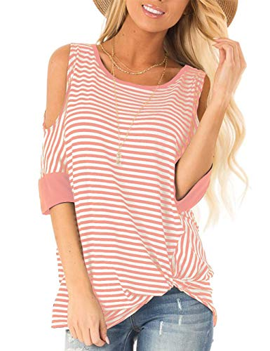 (SMALNNIE Cold Shoulder T Shirt Round Neck for Women Loose Fit Cute Striped Tops and Blouse Pink M)