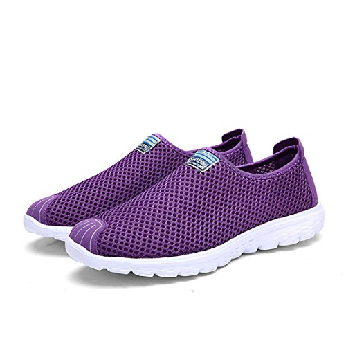 SEVENWELL Women Men Couple Fashion Athletic Sport Sneakers Mesh Shoes Unisex Purple Breathable Casual qqfZr