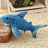 Mjia Pillow Plush Stuffed Animals Plush Toys for Boys/Girls/Friend Birthday, Blue shark plush toy, marine pavilion decoration, 33CM
