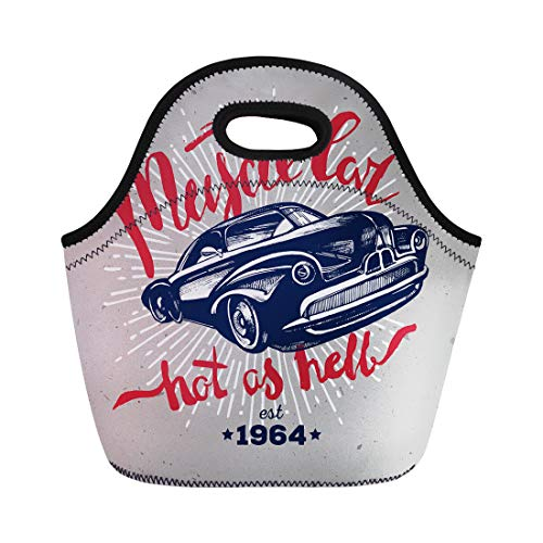 Semtomn Neoprene Lunch Tote Bag 1950 Muscle Car Retro Classic American Hipster Graphic Vintage Reusable Cooler Bags Insulated Thermal Picnic Handbag for Travel,School,Outdoors, Work