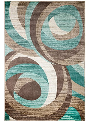 SUMMIT BY WHITE MOUNTAIN Summit SP-3AVQ-BQFD New Elite 60 Turquoise Swirl Area Modern Abstract Rug Many Available 8 X 11 ACTUAL SIZE IS 7'.4'' X - Turquoise Rugs Area