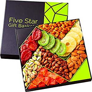 Five Star Gift Baskets, Holiday Fruit and Nuts Gift Basket Gourmet Food Gifts Prime Delivery -Birthday, Thanksgiving, Christmas, Mothers & Fathers Day Fruit Gift Box Assortment, Men, Women, Families