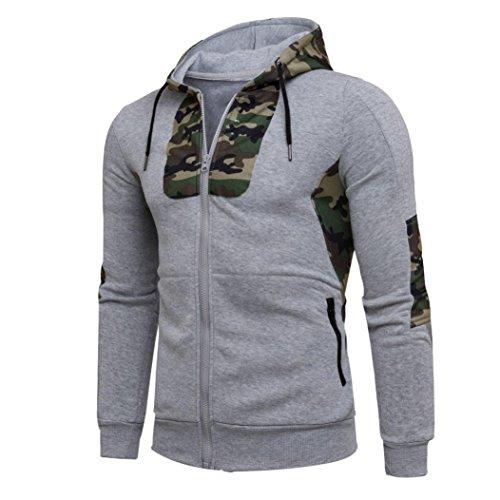 HOT !YANG-YI Men Autumn Winter Camouflage Hooded Sweatshirt Coat Jacket (2XL, Gray) by YANG-YI Mens