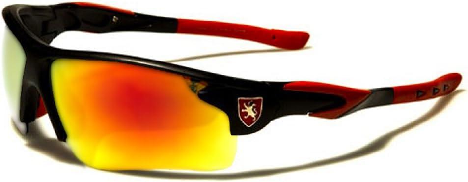 Ski Conduite Khan Lunettes de Soleil Sport Moto Vtt // Mod Cyclisme Sprint Noir Rouge Iridium Miroir