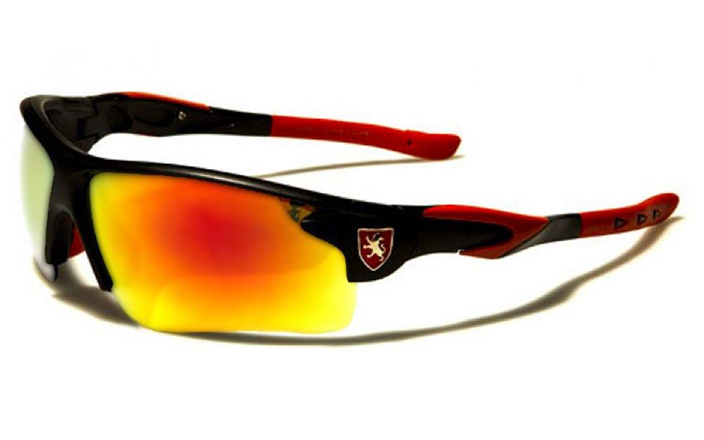 Occhiali da Sole Khan - Sport - Ciclismo - Sci - Corsa a Piedi - Moto - Squash / Mod. Sprint Nero Rosso Fire Iridium / Un formato adulto / 100% Protezione UV-400