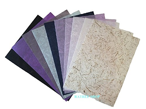 Handmade Decorative Paper (RATREE SHOP 10 Mulberry Paper Sheet Design Craft Hand Made Art Tissue Japan Origami Washi Wholesale Bulk Sale Unryu Suppliers Thailand Products Card Making, By (No03))