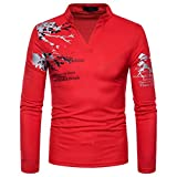 Men's Casual Print Stand Neck Pullover Long Sleeved T-Shirt Top Blouse