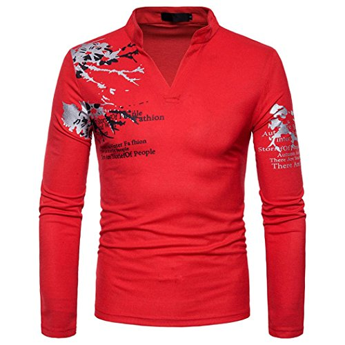 Men's Casual Print Stand Neck Pullover Long Sleeved T-Shirt Top Blouse by Dacawin