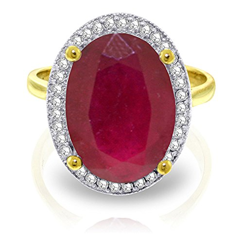 7.93 Carat 14k Solid Gold Ring with Natural Oval-Shaped Ruby and Genuine Diamonds - Size 6