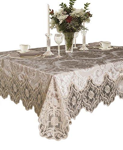 """Violet Linen Elegant Velvet Lace Sheer Floral Deluxe Design Tablecloths, 70"""" x 108"""", Taupe"""