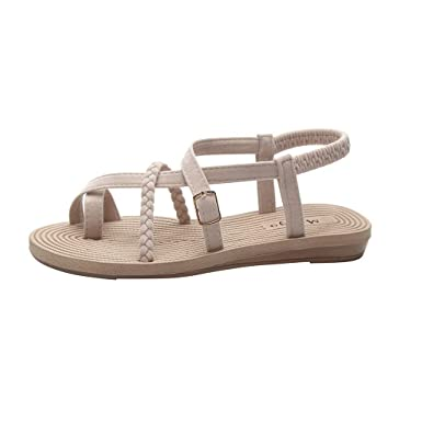 1ba0475d06702 Amazon.com: Claystyle Womens Ankle Strap Flat Sandals Open Toe Low ...