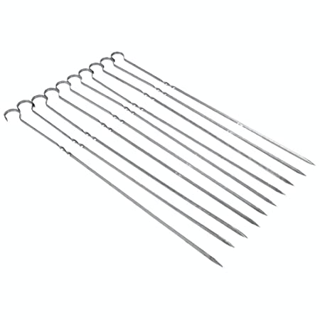 Ad Fresh 10 pcs Stainless Steel BBQ Barbecue Kabob Flat Metal Grilling Skewers Set Reusable BBQ Sticks