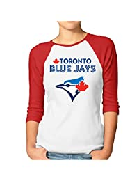 Women's 2016 Playoff Toronto Blue Jays Logo 3/4 Sleeve Raglan T-Shirt