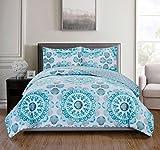 RT Designers Collection 3 Piece Jamesport Reversible Quilt Set, King, Aqua/Grey/Turquoise/White
