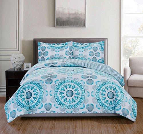 - RT Designers Collection Jamesport 3-Piece Quilt Set, Queen, Aqua/Grey/Turquoise/White
