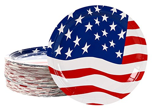 Set Flag Plate (Disposable Plates - 80-Pack Paper Plates American Flag Party Supplies for America-Themed, Patriotic Parties, 9 x 9 Inches)