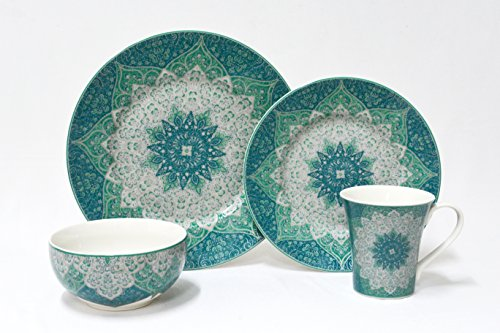 222 Fifth Kashan Blue16-piece Dinnerware Set, Service for 4
