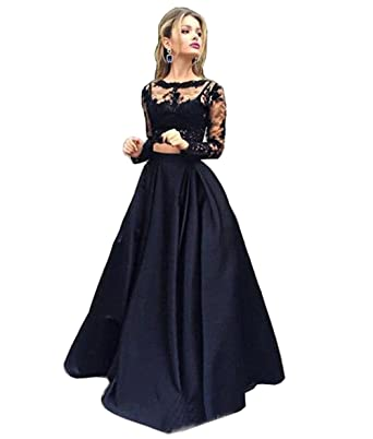 Luccatown Womens Two Piece Long Sleeve A-Line Satin Prom Dress Evening Formal Gowns With