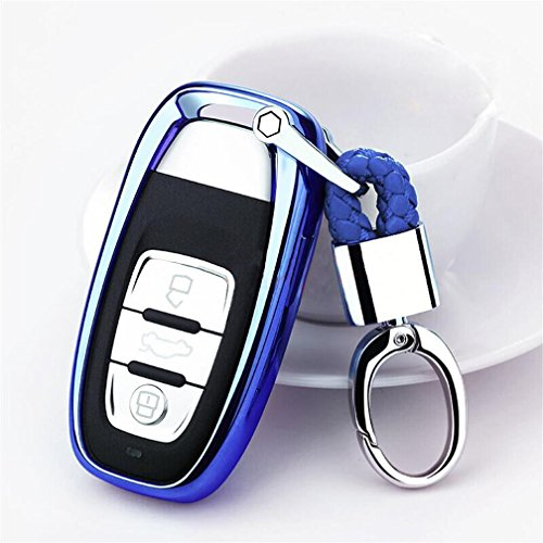 DeAutoBug Smart Keyless Remote Case Key Soft PU Protector Shell Key Fob Holder with stainless steel Key Chain Keychain for Audi Q5 A8L A4 SQ5 A5 A6 A7 A8 S5 S6 S7 S8 R8 RS5 (Blue)