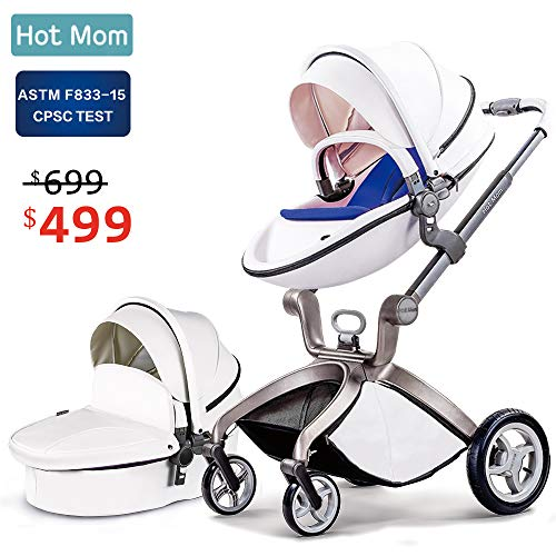 - Baby Stroller 2018, Hot Mom Baby Carriage with Bassinet Combo,White