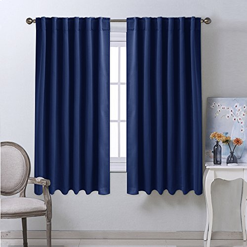 Blackout Draperies Curtains Window Drapes - (Navy Blue Color) 52