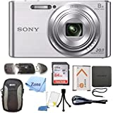 Sony DSC-W830 Cyber-shot 20.1MP Digital Camera + 64GB Memory Card & Accessory Bundle (Silver)