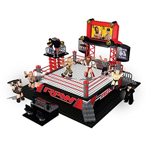 The Bridge Direct WWE StackDown Ring Set with Figures: RAW Ring Set Building Kit by The Bridge Direct