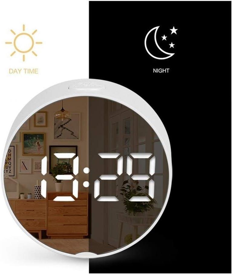Reloj Inteligente 2020 Espejo Redondo LED de Alarma del Reloj Digital Reloj de Escritorio luz de la Noche con la Temperatura electrónica decoración del hogar BTZHY (Color : 1)