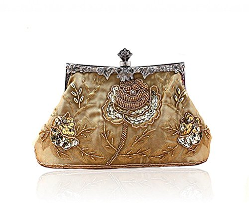 Handmade Evening Vintage Beaded Clutch Golden Handbag Wedding Seed Sequined 7dq6d