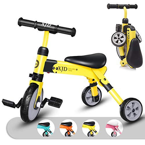2 in 1 Kids Glide Tricycles Toddler Tricycle Baby Balance Bike Trike for 2 Years Old and Up Boys Girls Gift Kids Bike Trike Kids Tricycle 2-4 Years Old Toddler Bike Trike Kids Balance Bike (Yellow)