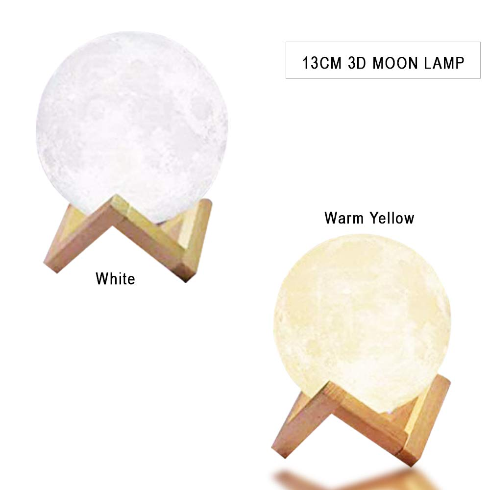 Newest Night Light CoolKo 8cm 3D Printed Lunar Moon Lamp, Rechargeable Home Decor Light, White & Warm Yellow Dimmable Touch Control Brightness [Bonus 2M Braided Android Cable & Wooden Stand]