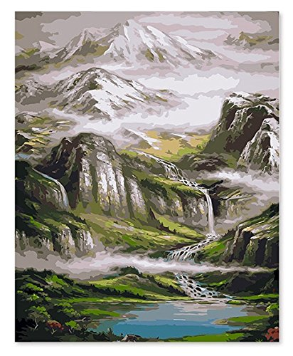 Diy Paint By Number Kits with Brushes Acrylic Painting on Canvas For Adults Kids Beginner Wall Décor-Mountain View 16x20inch