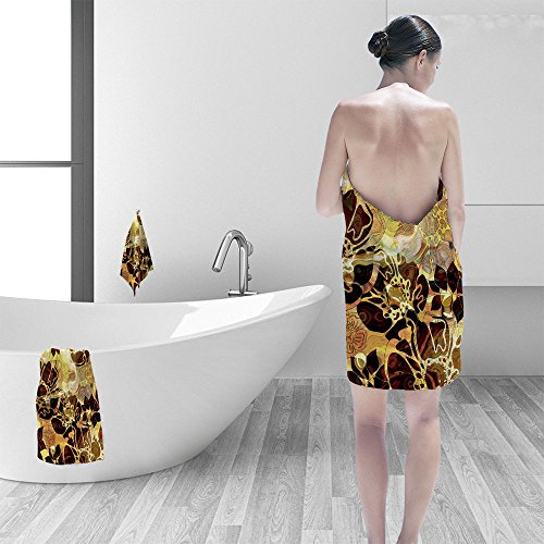 (Bath towel set art autumn floral ornament grunge transparency brown and gold monochrome background 3D Digital Printing No Chemical OdorEco-Friendly Non Toxic13.8