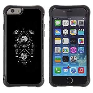Be-Star único patrón Impacto Shock - Absorción y Anti-Arañazos Funda Carcasa Case Bumper Para Apple iPhone 6(4.7 inches) ( Black White Coat Of Arms Skull Death )