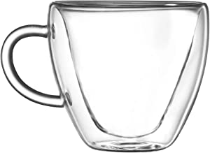 Anjiyoyo Heart Shaped Double Walled Insulated Glass Coffee Mugs or Tea Cups, Double Wall Glass 8 oz, Clear, Unique & Insulated with Handle